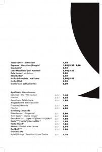 Getränkekarte - Softdrinks